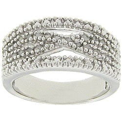 Sterling Silver 1/4ct TDW Diamond &#39;X&#39; Design Ring (J-K, I3)