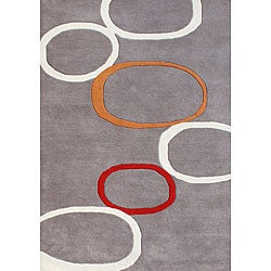 Hand-tufted Metro Circles Grey Blended Wool Rug (5' x 8')