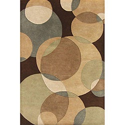 Hand-tufted Metro Circles Brown Wool Rug (5' x 8')