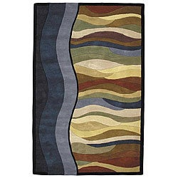 Alliyah Handmade Blue New Zealand Blend Wool Rug(8' x 10')