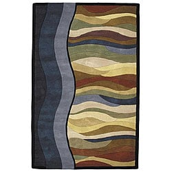 Hand-tufted Megan Wavy Lines Blue Wool Rug (8' x 10')