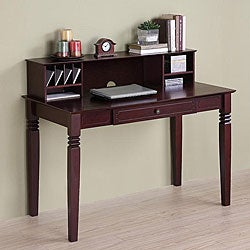 Brown Wood Computer Desk with Hutch