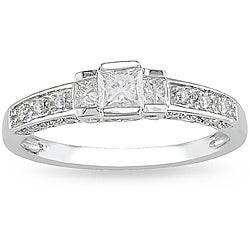 14k White Gold 1/2ct TDW Diamond 3-stone Engagement Ring (G-H, I1-I2)