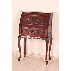 Hand-carved Hard Wood Small Secretary Desk