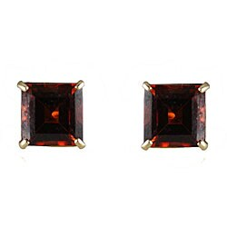 Gioelli 10k Yellow Gold Basket-set Square Garnet Stud Earrings