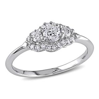 Miadora 14k White Gold 1/2ct TDW Diamond Halo Engagement Ring (H-I, I1-I2) with Bonus Earrings
