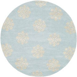 Safavieh Handmade Soho Medallion Light Blue N. Z. Wool Area Rug (6' Round)
