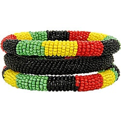 Red/ Green/ Yellow 3-piece Massai Bangle Set (Kenya)