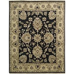 Nourison Hand-knotted Tajik Black/ Beige Wool Rug (8'6 x 11'6)