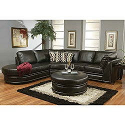 Sophia Black Leather Sectional Sofa