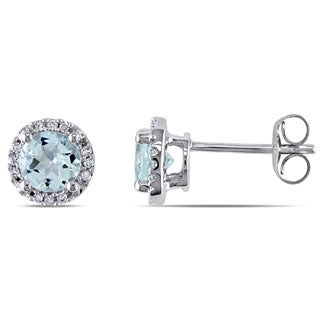 Miadora 10k White Gold Aquamarine and Diamond Halo Earrings (H-I, I2-I3)