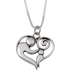 Charming Life Sterling Silver Charm Necklace of mother and child
