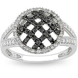 Miadora 10k White Gold 1/3ct TDW Black and White Diamond Ring (H-I, I2-I3)