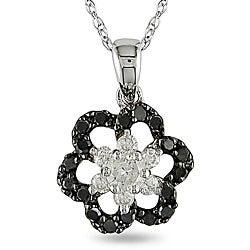 Miadora 10k White Gold 2/5ct TDW Black and White Diamond Necklace (H-I, I2-I3)