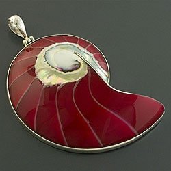 Sterling Silver Red Ammonite Fossil Pendant (Indonesia)
