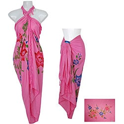 Sequined and Embroidered Floral Pink Sarong (Indonesia)