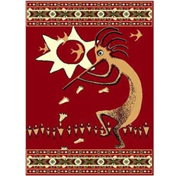 New Red Kokopeli Southwestern Rug (5' x 8')