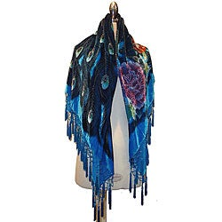 Embroidered Turquoise Velvet/ Silk Shawl
