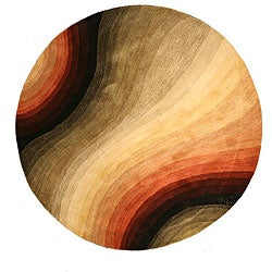 Hand-tufted Desertland Multicolor Wool Rug (6' Round)