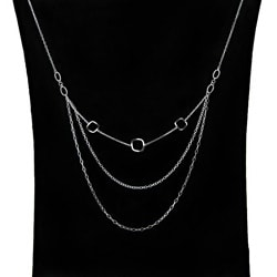 Dolce Giavonna Sterling Silver 3-strand Geometric Necklace