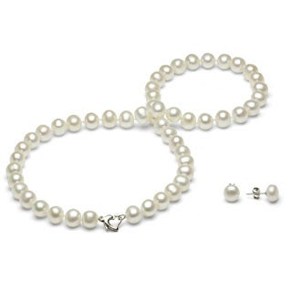 DaVonna Silver White FW Pearl Necklace and Earring Set with Gift Box (8-9 mm)