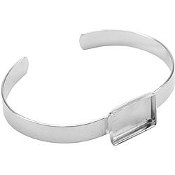 Base Elements Silver Overlay Adjustable Rectangle Bracelet Base