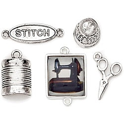 Blue Moon Tokens 'Antique Silver Sewing' Metal Charms (Pack of 5)