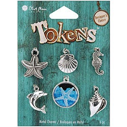 Blue Moon Tokens Metal Silver Sea Life Charms (Pack of 6)