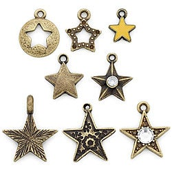 Blue Moon Tokens Metal Ox Brass Star Charms (Pack of 8)