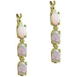 10k Yellow Gold Opal and Half-point Diamond Hoop Earrings