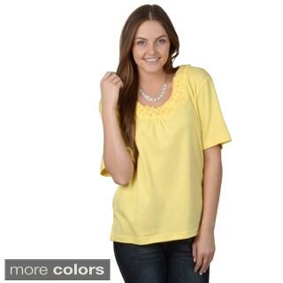 Nicole Ricci Women's Missy Woven-Neckline Short-Sleeve Top