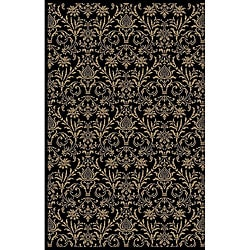 Damask Black Oriental Rug (3&#39;11 x 5&#39;7)