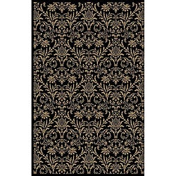 Damask Black Oriental Rug (5&#39;3 x 7&#39;7)
