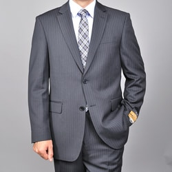 Men's Black Wool/ Silk Pinstripe Suit