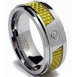 Men's Tungsten Carbide Cubic Zarconia Yellow Carbon Fiber Ring (8 mm)