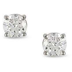 Miadora 14k Gold 1/3ct TDW Certified Diamond Solitaire Earrings (H-I, SI1-SI2)