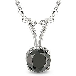 Miadora 14k White Gold 3/4ct TDW Black Diamond Solitaire Necklace