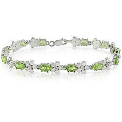 Sterling Silver Peridot and White Topaz Tennis Bracelet