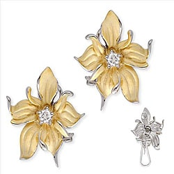 Collette Z Vermeil Round-cut Cubic Zirconia Flower Earrings