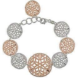 Italian Pink-plated Sterling Silver Milligrain Circle Link Bracelet