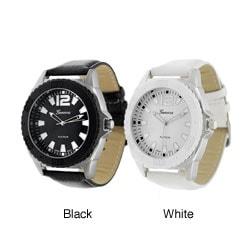 Geneva Men's Platinum Leather Round Face Watch
