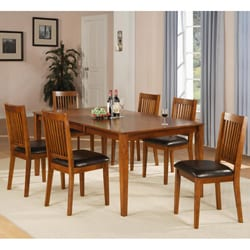 Beauville 7-piece Oak Finish Dining Table Set