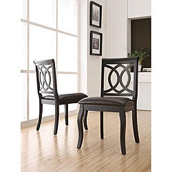 Havana Black Scroll-back Faux Leather Chairs (Set of 2).