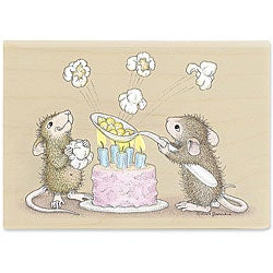 House Mouse 'Poppin Good Birthday' Wood-mounted Rubber Stamp