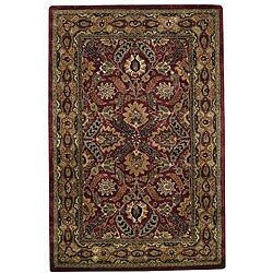 Hand-tufted Delhi Pompean Red Border Wool Rug (8' x 10')