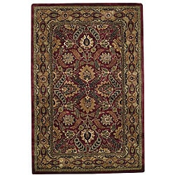 Hand-tufted Delhi Pompean Red Border Wool Rug (5' x 8')