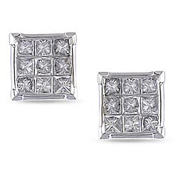 Miadora 10k White Gold 1ct TDW Diamond Cluster Stud Earrings (J-K, I3)