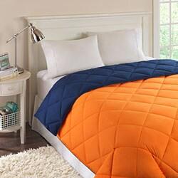 Reversible orange navy quilted microfiber down - Navy blue and orange bedding ...
