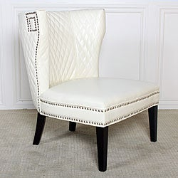 Tessa Ivory Quilted Bonded Leather Chair.