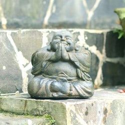 Stone Small Happy Buddha Praying Antique (Indonesia)